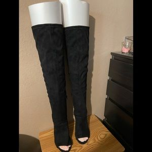 Torrid size 10.5 over the knee, open toe boots.
